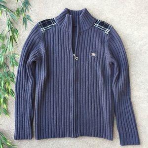 Burberry Zip Front Wool Blend Cardigan Sweater